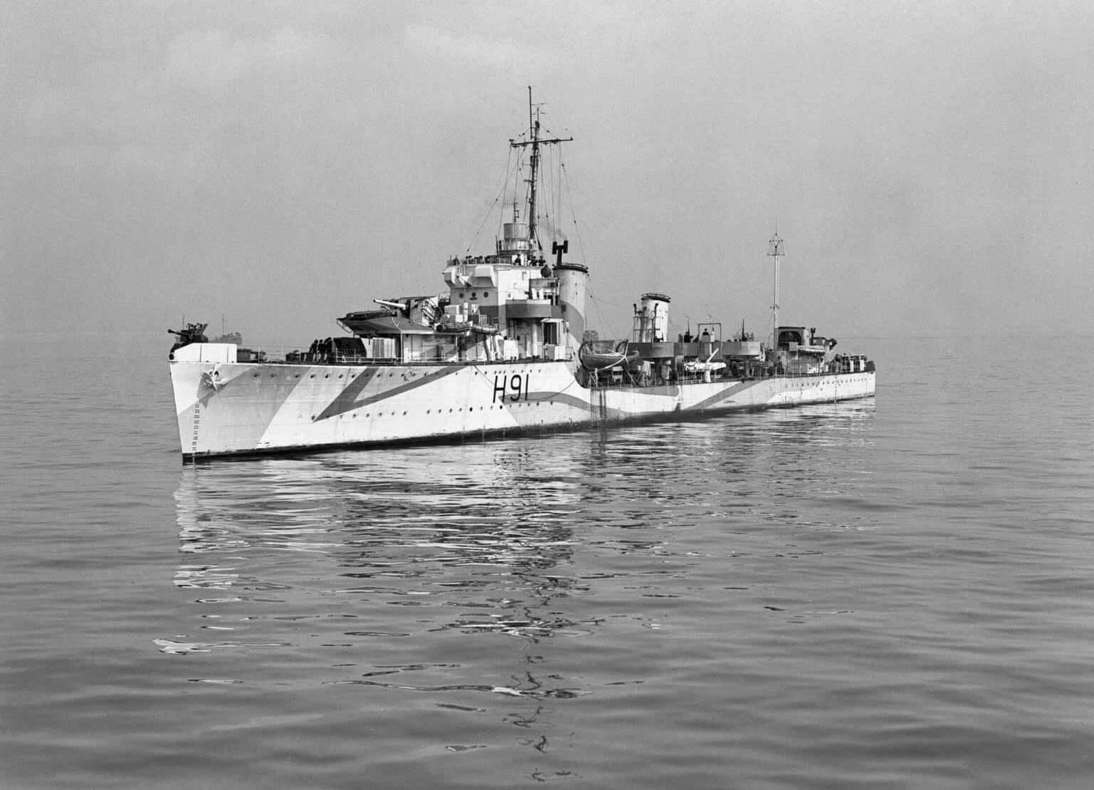 HMS Bulldog at sea