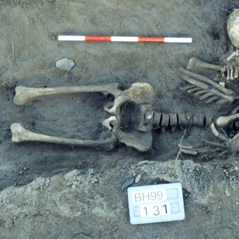 A skeleton with codename ofslēan as discovered in the bowl hole graveyard