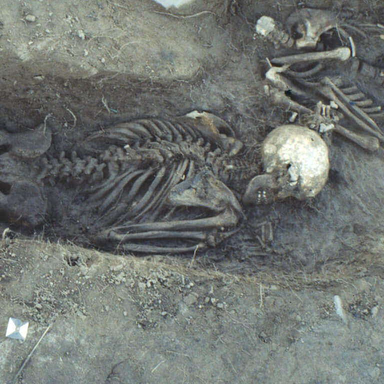 A skeleton with codename ǣ-fæstnes as discovered in the bowl hole graveyard