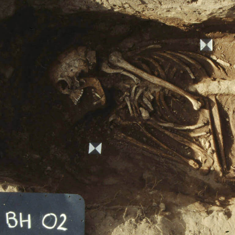 A skeleton with codename Eard as discovered in the bowl hole graveyard