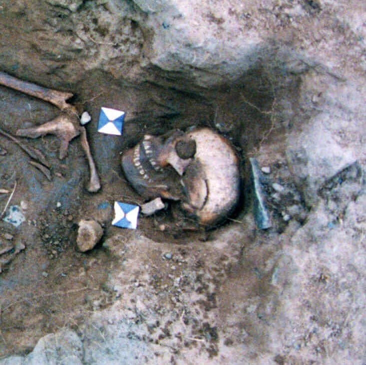 A skeleton with codename ȳð-beġeata as discovered in the bowl hole graveyard