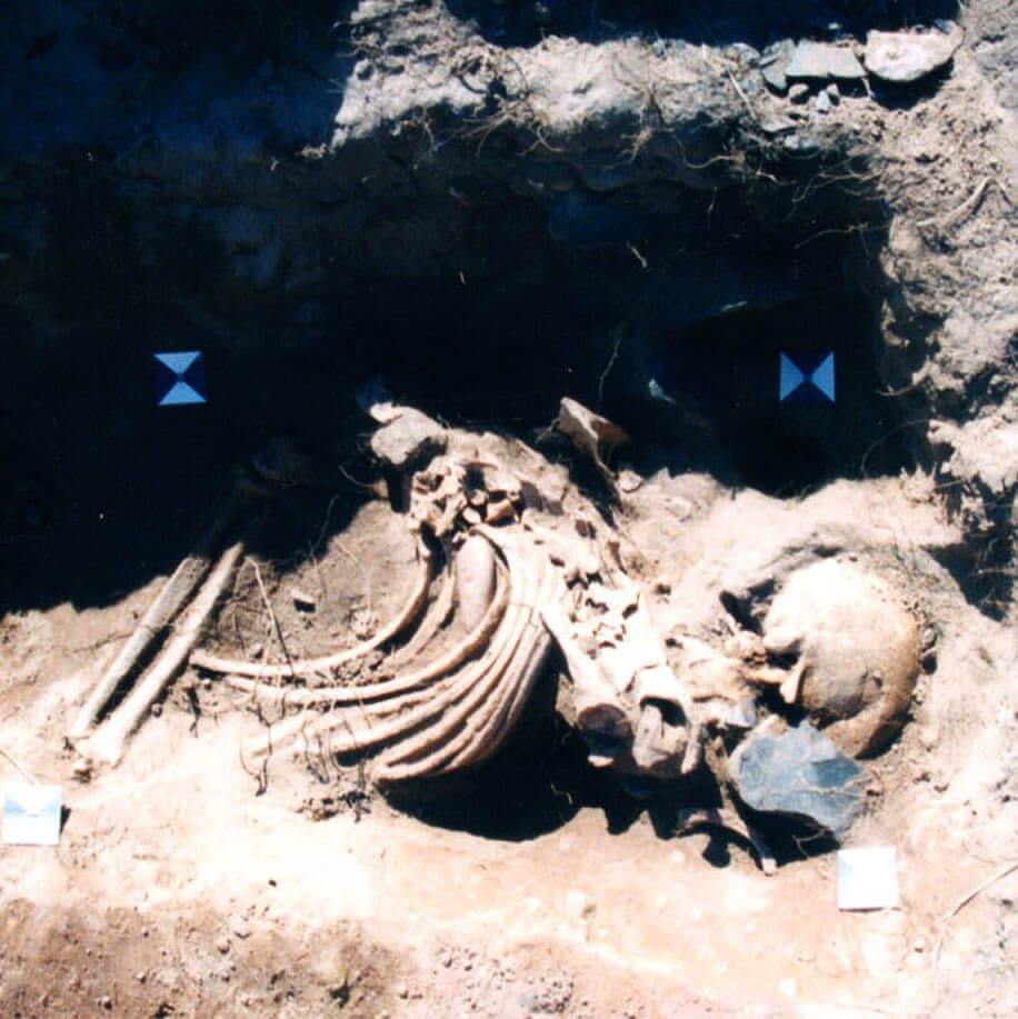 A skeleton with codename gebēoras as discovered in the bowl hole graveyard