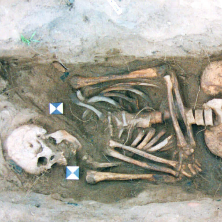 A skeleton with codename ġebann as discovered in the bowl hole graveyard