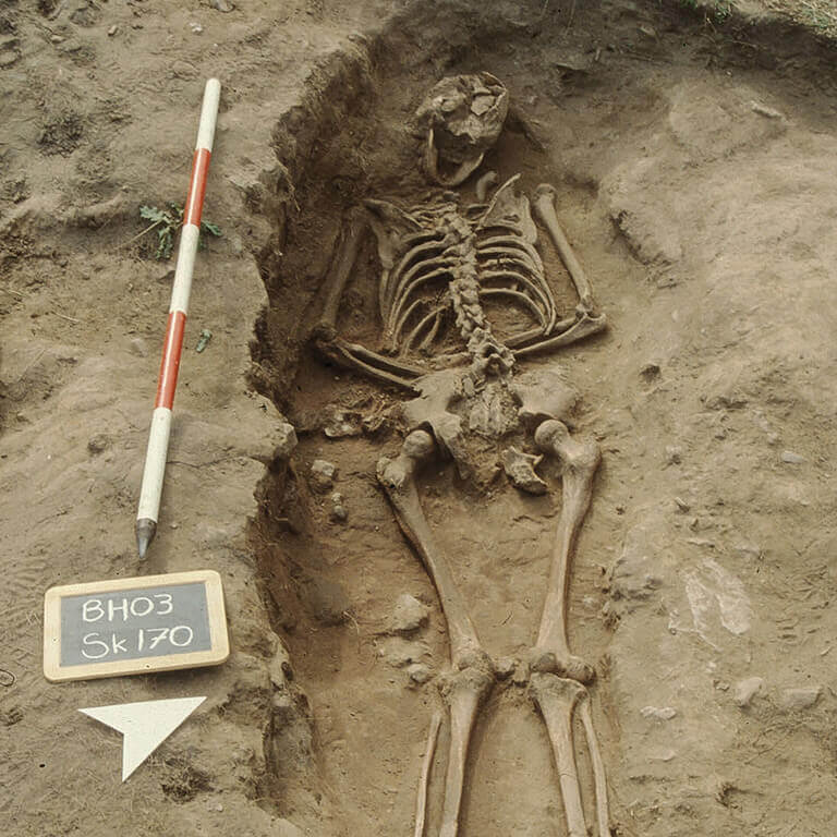 A skeleton with codename Flota as discovered in the bowl hole graveyard