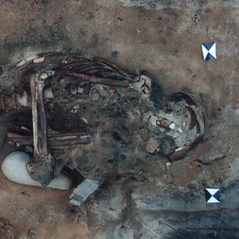 A skeleton with codename Leġer as discovered in the bowl hole graveyard
