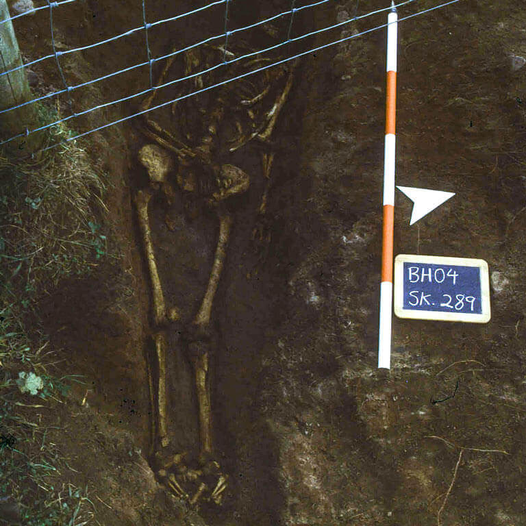 A skeleton with codename Scinn as discovered in the bowl hole graveyard