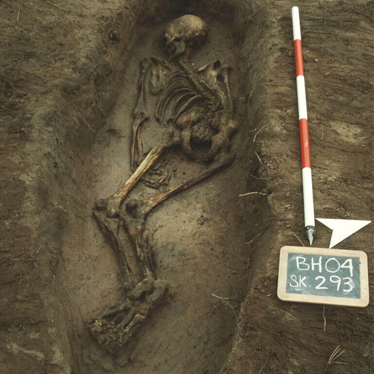 A skeleton with codename Sinc-ġyfa as discovered in the bowl hole graveyard