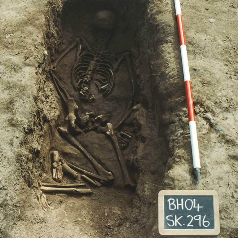 A skeleton with codename Sunnan-ðāæg as discovered in the bowl hole graveyard
