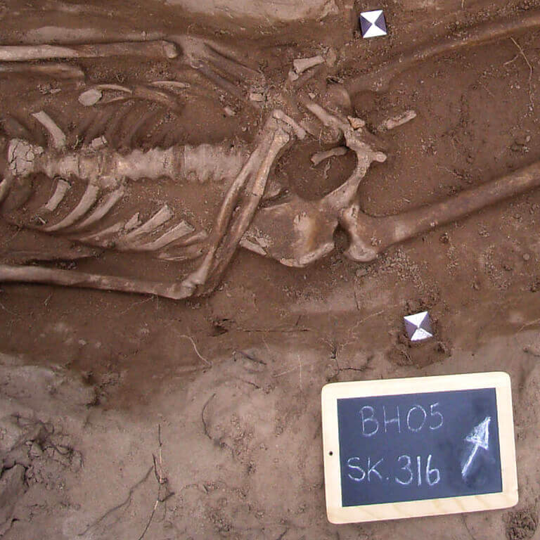 A skeleton with codename Sōð-fæst as discovered in the bowl hole graveyard