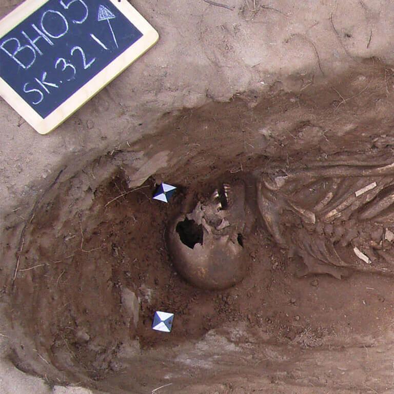 A skeleton with codename Swalewan as discovered in the bowl hole graveyard