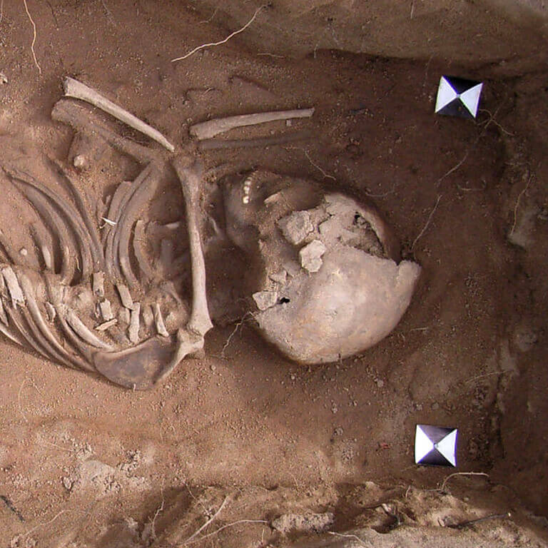 A skeleton with codename Þēoh as discovered in the bowl hole graveyard