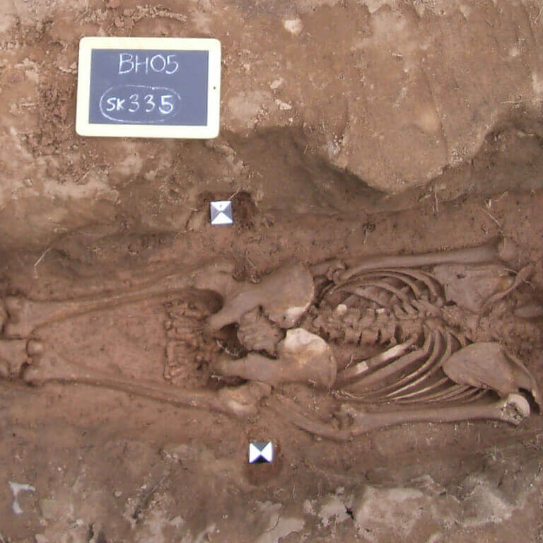 A skeleton with codename Ġeþeahtere as discovered in the bowl hole graveyard
