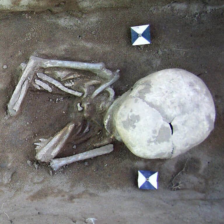 A skeleton with codename Wyrtwal-að as discovered in the bowl hole graveyard