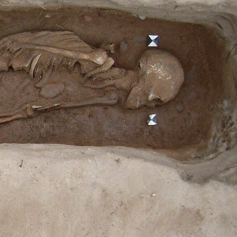 A skeleton with codename Ēaġe-ðyrel as discovered in the bowl hole graveyard