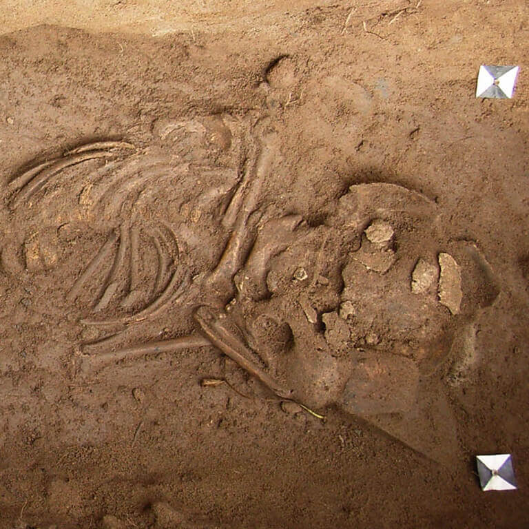 A skeleton with codename Unfrið as discovered in the bowl hole graveyard