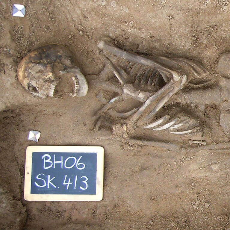 A skeleton with codename Bolster as discovered in the bowl hole graveyard