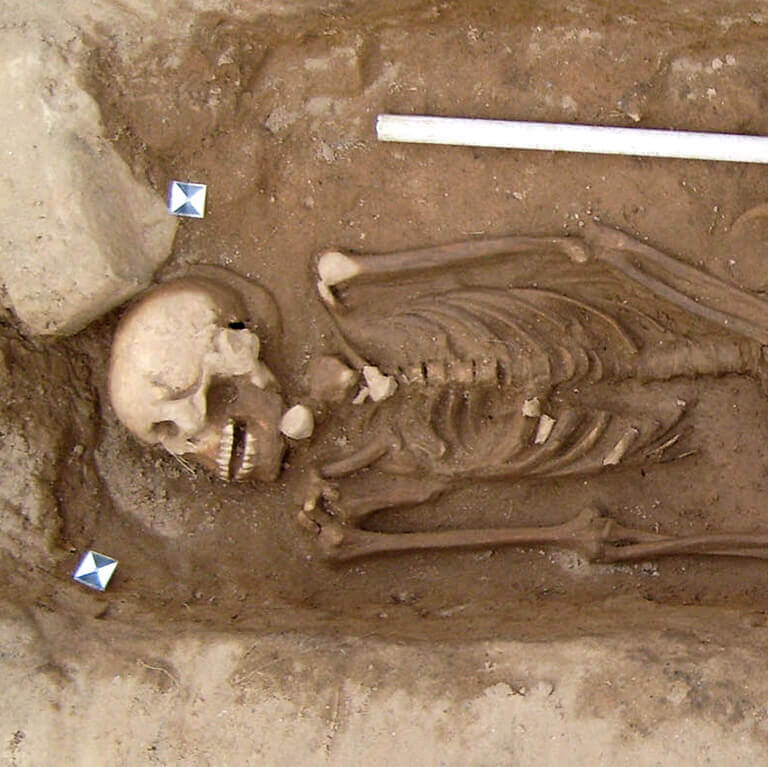 A skeleton with codename Hrycg as discovered in the bowl hole graveyard