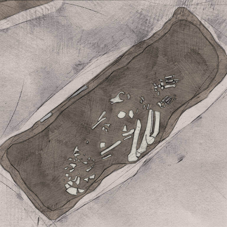 A drawing of skeleton with codename oferbrædan as discovered in the bowl hole graveyard