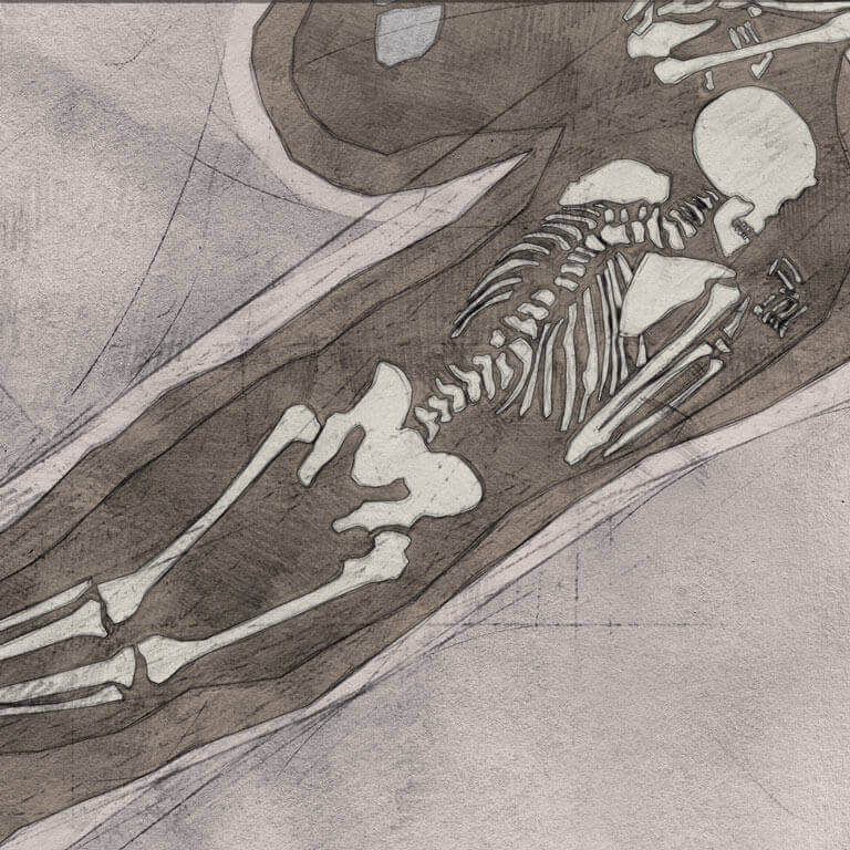 A drawing of skeleton with codename ǣ-fæstnes as discovered in the bowl hole graveyard