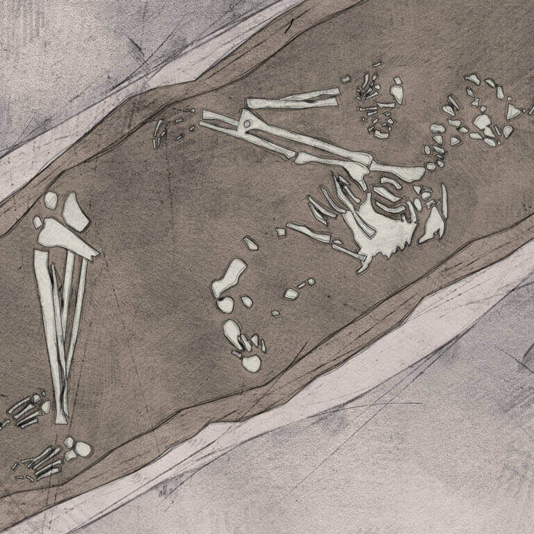 A drawing of skeleton with codename ælmessan as discovered in the bowl hole graveyard