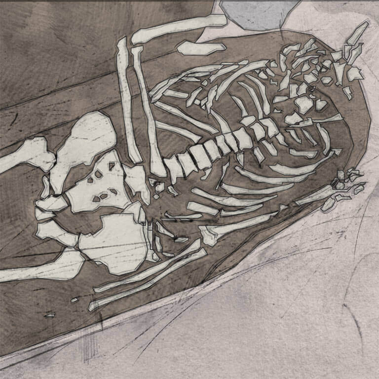 A drawing of skeleton with codename oncweðeð as discovered in the bowl hole graveyard