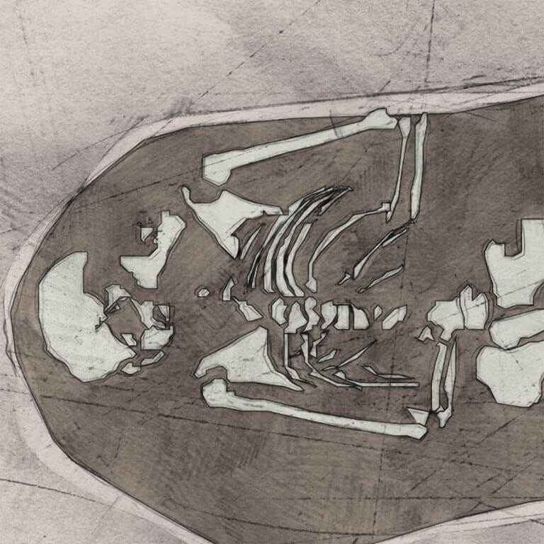 A drawing of skeleton with codename bēo as discovered in the bowl hole graveyard