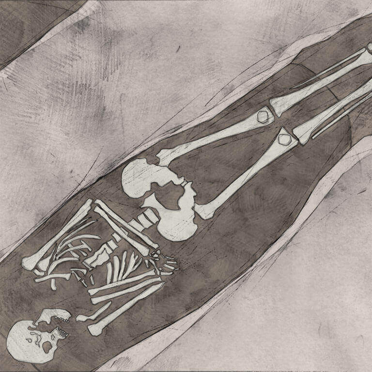 A drawing of skeleton with codename ġebann as discovered in the bowl hole graveyard