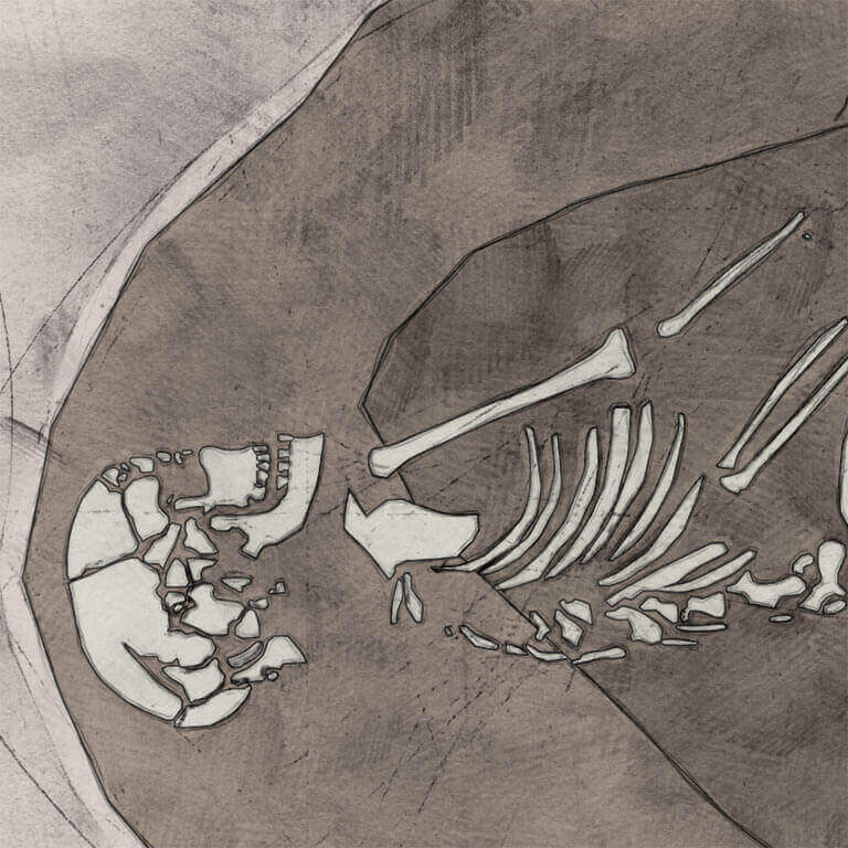 A drawing of skeleton with codename Bord as discovered in the bowl hole graveyard