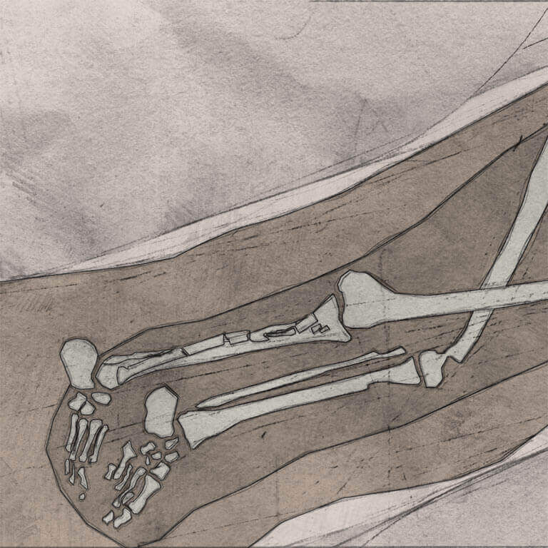A drawing of skeleton with codename crīsten as discovered in the bowl hole graveyard