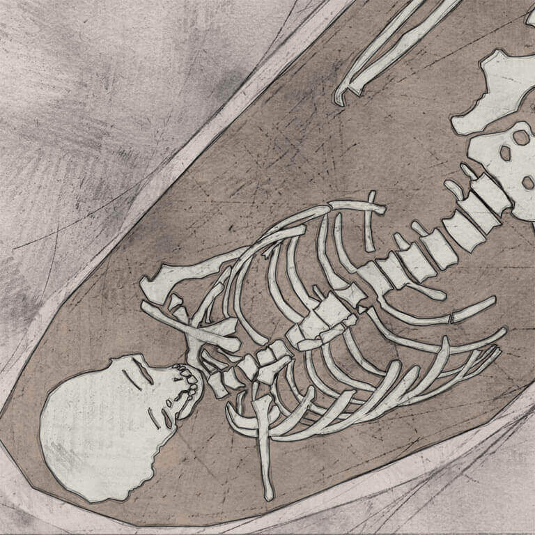 A drawing of skeleton with codename cræftiġ as discovered in the bowl hole graveyard