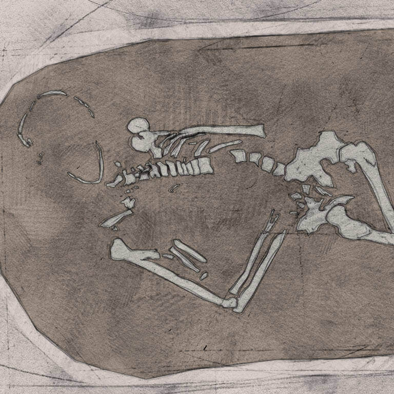 A drawing of skeleton with codename Drihtnēum as discovered in the bowl hole graveyard