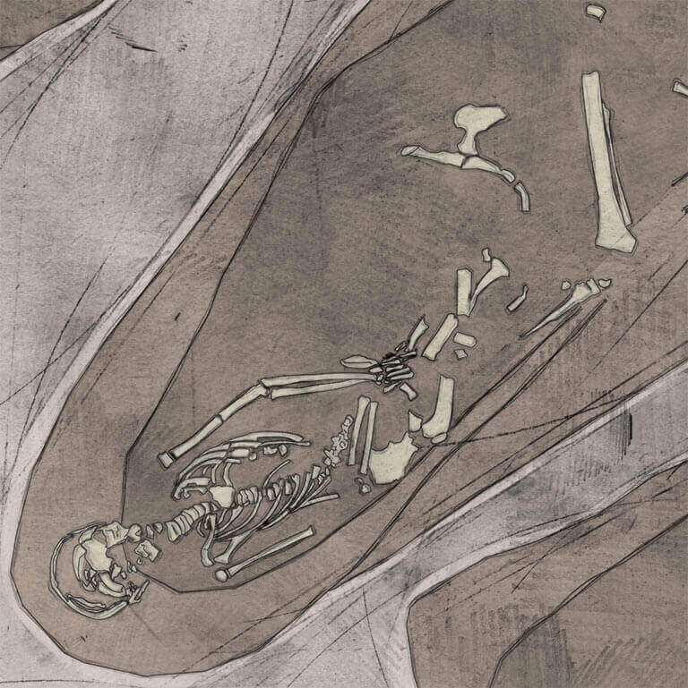 A drawing of skeleton with codename Folc as discovered in the bowl hole graveyard