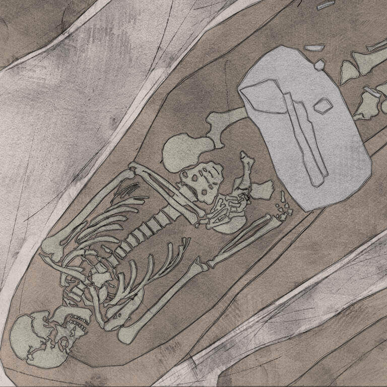 A drawing of skeleton with codename Frymð as discovered in the bowl hole graveyard