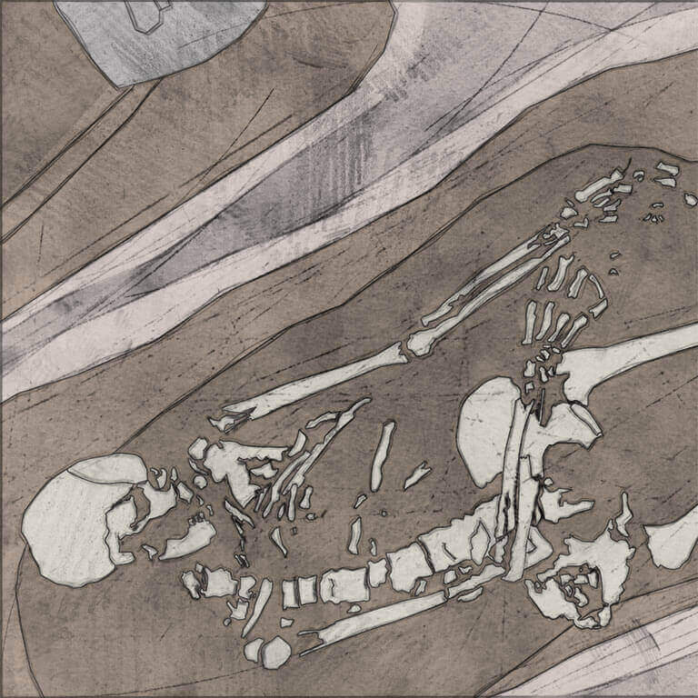 A drawing of skeleton with codename bān-hring as discovered in the bowl hole graveyard