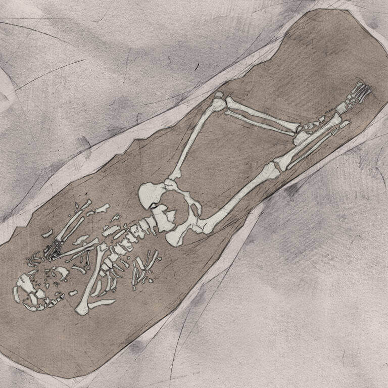 A drawing of skeleton with codename Ġehorsian as discovered in the bowl hole graveyard