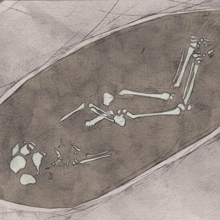 A drawing of skeleton with codename Hōpiġ as discovered in the bowl hole graveyard