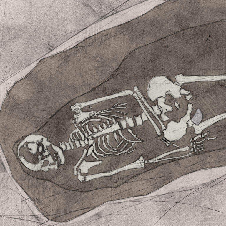 A drawing of skeleton with codename Lyb-lāc as discovered in the bowl hole graveyard