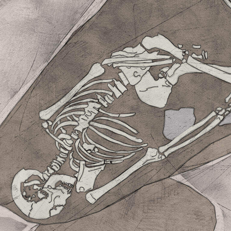A drawing of skeleton with codename Norþan-hymbre as discovered in the bowl hole graveyard