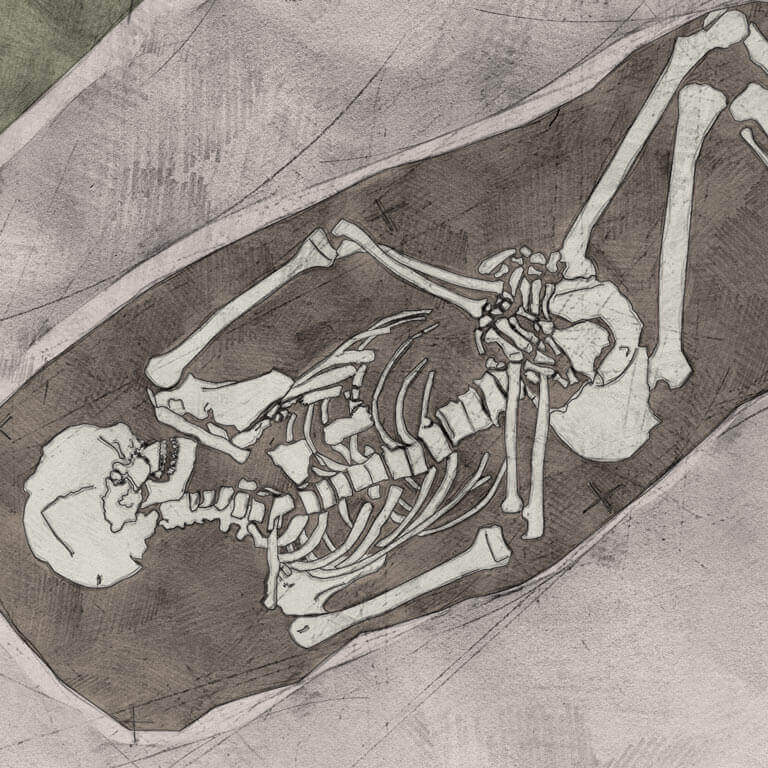 A drawing of skeleton with codename Rūn-cofa as discovered in the bowl hole graveyard
