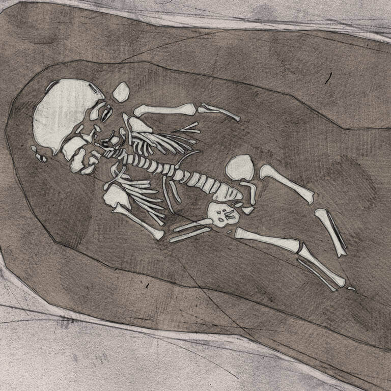 A drawing of skeleton with codename Rūm-heort as discovered in the bowl hole graveyard