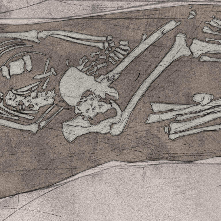 A drawing of skeleton with codename Ræswa as discovered in the bowl hole graveyard