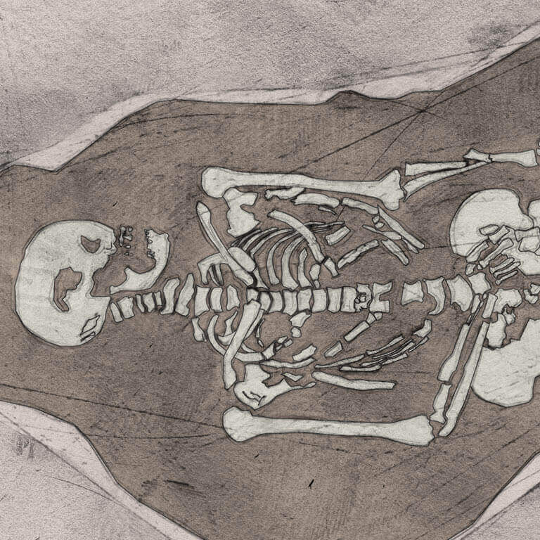 A drawing of skeleton with codename Scinn as discovered in the bowl hole graveyard