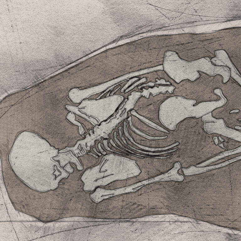 A drawing of skeleton with codename Sinc-ġyfa as discovered in the bowl hole graveyard