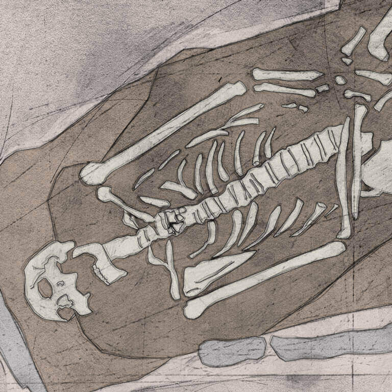 A drawing of skeleton with codename Sōð-fæst as discovered in the bowl hole graveyard