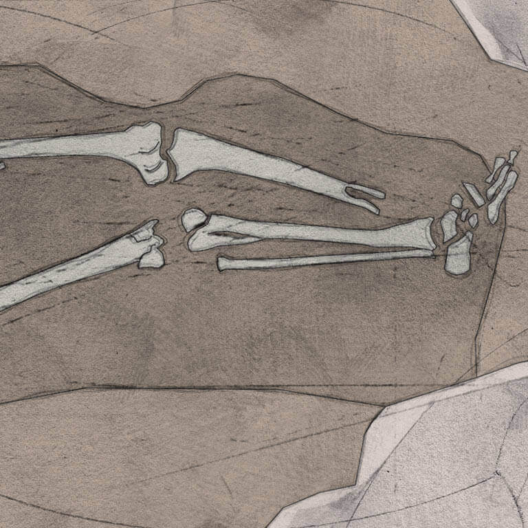 A drawing of skeleton with codename Swalewan as discovered in the bowl hole graveyard