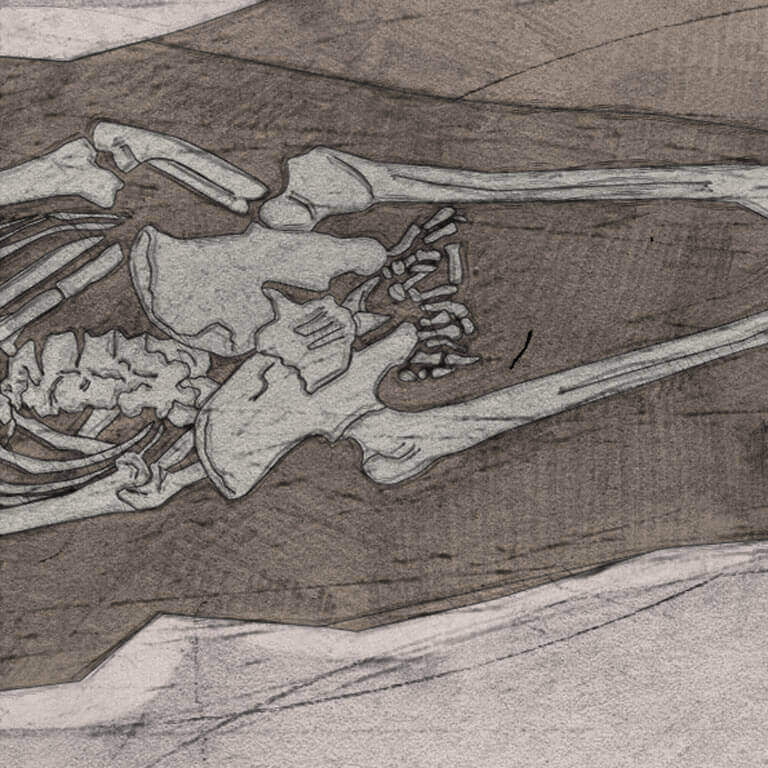A drawing of skeleton with codename Ġeþeahtere as discovered in the bowl hole graveyard