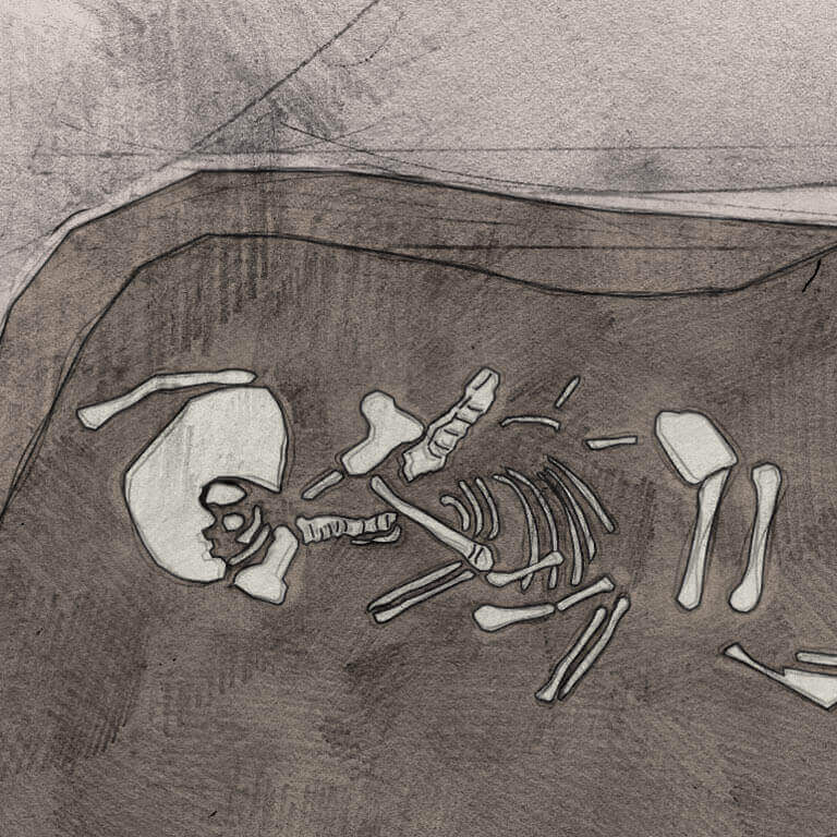 A drawing of skeleton with codename Þunor as discovered in the bowl hole graveyard