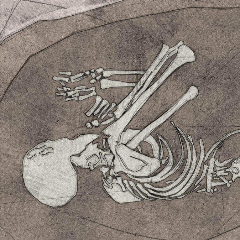 A drawing of skeleton with codename Unweder as discovered in the bowl hole graveyard