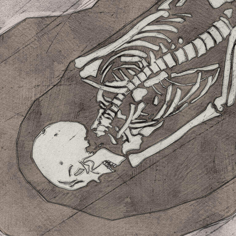 A drawing of skeleton with codename Wynsum as discovered in the bowl hole graveyard