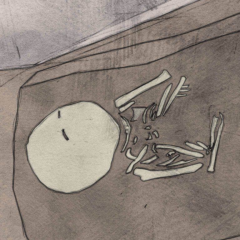 A drawing of skeleton with codename Wyrtwal-að as discovered in the bowl hole graveyard